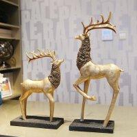 【支持礼品卡支付】欧式麋鹿摆件 创意家居装饰品摆设客厅电视柜玄关工艺品结婚礼物