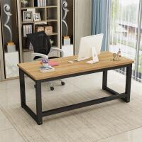 简易电脑桌台式家用钢木书桌卧室写字台双人桌简约现代加固办公桌
