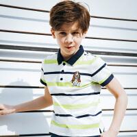 【3件3折:98.7元】暇步士童装男童POLO衫夏装新款大童T恤儿童翻领短袖时尚半袖
