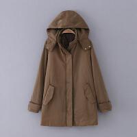 508 女装 冬季新款中长款可脱卸连帽长袖女式休闲棉衣