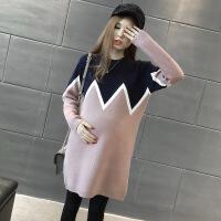 孕妇装秋冬上衣时尚潮妈韩版针织连衣裙2017新款宽松中长款毛 均码