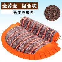 颈椎枕头老粗布荞麦壳糖果圆形枕含枕芯