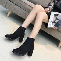 粗跟高跟短靴女2018秋冬新款性感韩版马丁靴网红尖头复古chic靴子