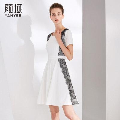 颜域品牌女装2018夏装新款气质时尚短袖收腰显瘦白色拼接连衣裙女