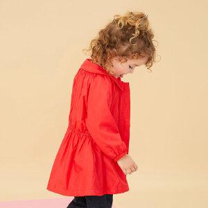 【1件3折到手价:94.5】美特斯邦威旗下Moomoo童装女幼童春秋装娃娃领收腰外套小宝宝风衣