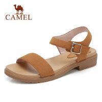 camel 骆驼2018夏季新款平底凉鞋 中跟简约一字扣女鞋 韩国百搭学生鞋子