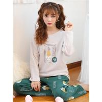 秋季睡衣女长袖宽松套装韩版卡通学生春秋季女士家居服可外穿