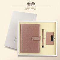 创意商务A5记事本子笔礼品套装笔记本文具礼盒会议*定制LOGO 801+本+名片盒 金色