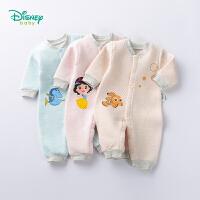 迪士尼Disney童装 婴儿衣服新品卡通混合保暖连体衣冬季男女宝宝三层暖棉内衣爬服184L780