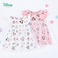 【3件3折到手价:51.3】迪士尼(Disney)童装 女童连衣裙米妮满印网纱裙中小童夏季新品甜美公主裙女孩裙子