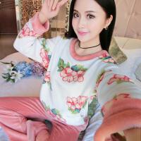 秋冬季可爱卡通加厚睡衣动物珊瑚绒长袖女士法兰绒睡衣套装家居服