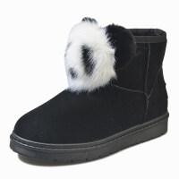 豆豆鞋女秋冬毛毛棉瓢鞋雪地靴平底防滑保暖孕妇靴工作靴