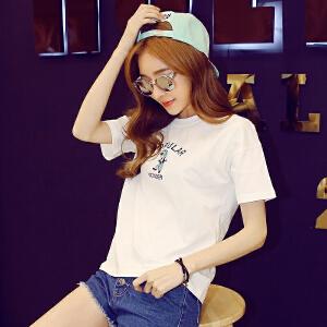 【1件3折:34.8元】韩都衣舍2019版女装春装新款刺绣学生宽松短袖T恤EQ12078�S
