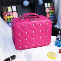 化妆包化妆品收纳包硬简约手提大小号便携带镜子旅行化妆箱 玫红大号