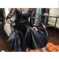 春季女装 修身高腰吊带连衣裙背带裙皮裙过膝中长裙小黑裙pu 黑色