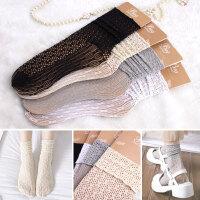 堆堆袜子女韩国春夏薄款日系甜美复古木耳边蕾丝镂空中筒袜亲子袜