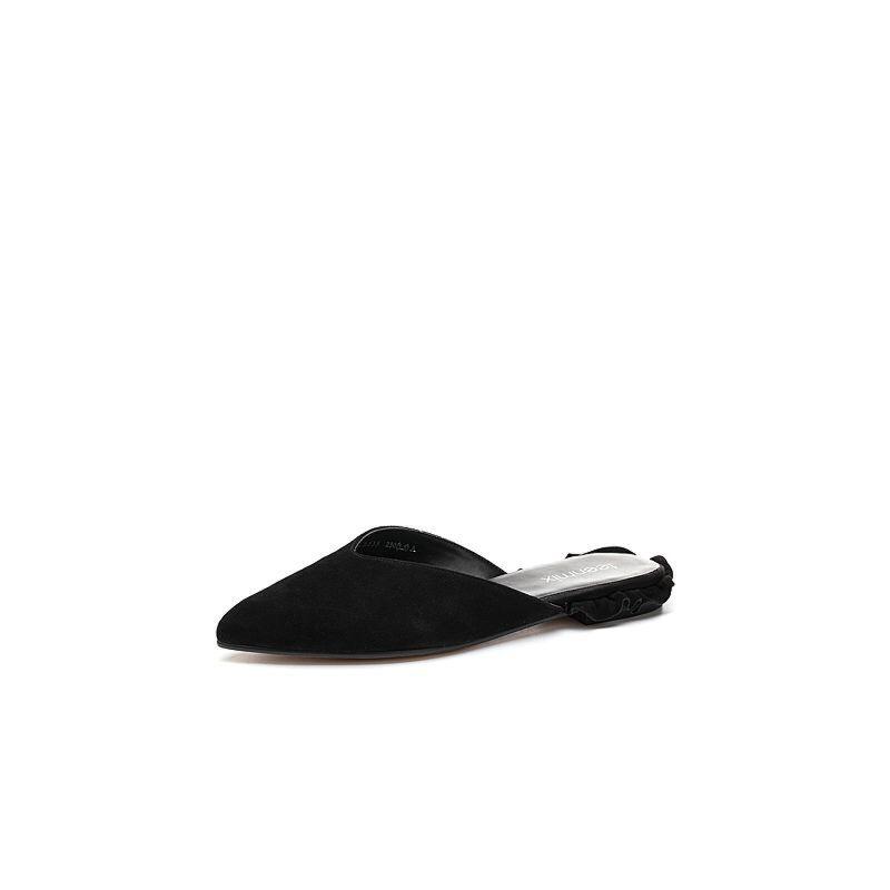 Teenmix/天美意2018春专柜同款羊绒皮花边方跟穆勒鞋女鞋CB533AH8