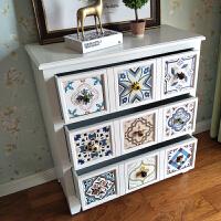地中海彩绘复古斗柜实木美式田园简约收纳储物卧室客厅玄关柜边柜