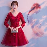 新娘敬酒服秋冬季2018新款长袖长款红色高腰孕妇显瘦结婚晚礼服女