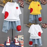 男童夏装新款套装中大童韩版帅气短袖牛仔短裤两件套洋气童装