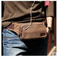 户外腰包多功能包韩版手机包跑步包男士休闲帆布小包包