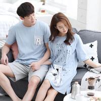 可爱孕妇睡裙夏男两件套 情侣睡衣夏季短袖棉家居服套装女士韩版