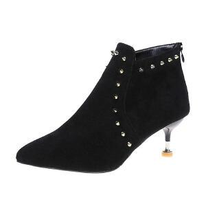 WARORWAR新品YM29-3030冬季欧美磨砂反绒细跟高跟铆钉女士靴子短靴