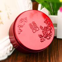 婚庆用品 风喜糖盒子 马口铁盒 糖果结婚礼圆形创意红色个性 红色牡丹