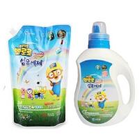 啵乐乐韩国进口儿童健康洗衣液桶装1300ml+袋装1000ml组合装