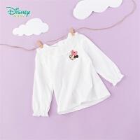 【2件3折到手价:43.5】迪士尼Disney童装 女童纯棉t恤蕾丝花边领上衣春夏新品中小童甜美衣服