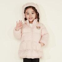 【全场2件2.5折,到手价:149.8】美特斯邦威旗下moomoo童装女幼童羽绒服新款冬装鸭绒保暖宝宝外套