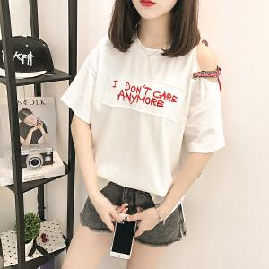 2018新款圆领T恤衫短款夏女套头短袖韩版宽松百搭时尚字母刺绣