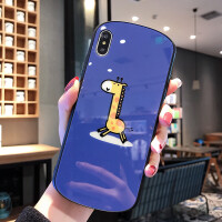 可爱卡通长颈鹿苹果x手机壳iphone7玻璃8plus全包6s弧形xsmax情侣iphonexs女款 苹果7/8 长颈