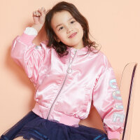 【全场2件2.5折,到手价:59.8】moomoo童装女童棒球外套新款春秋装时尚洋气休闲中大儿童开衫