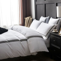 欧式磨毛四件套全棉加厚秋冬纯棉简约白色被套五星级酒店床上用品