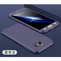 三星S6手机壳直屏sm全包边3星s6磨砂硬壳g9200外套+钢化膜g9208 360全包g9209送