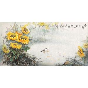 阳rui 萍 保真花鸟 023【清影 如歌品神韵 】130*64cm.纸本软片,全品 。
