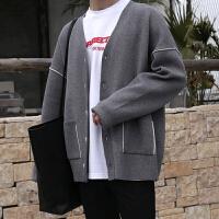 春季新款V领宽松长袖针织衫外套男开衫男士毛衣青年韩版休闲男装