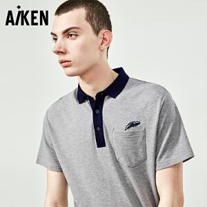 森马旗下Aiken短袖T恤男士夏装新款纯棉半袖体恤男翻领POLO衫潮流上衣