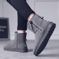 冬季韩版潮流面包加绒保暖男鞋棉靴子一脚蹬男靴雪地靴男士短靴潮
