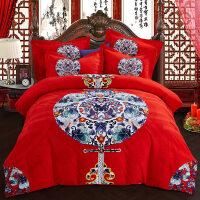纯棉四件套红色婚庆床上用品床单婚礼新婚房喜被结婚龙凤床品被套