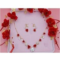 新娘饰品红色头饰项链耳环三件套装发饰结婚敬酒礼服配饰