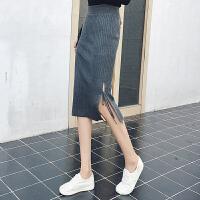 春夏秋冬新款中长款侧开叉高腰系带针织包臀半身裙一步裙女