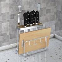 免打孔不锈钢厨房刀架置物架壁挂式家用多功能菜板用品收纳架