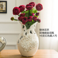 欧式陶瓷描金玫瑰花瓶摆件 家居客厅装饰品花插花器摆设结婚乔迁礼品