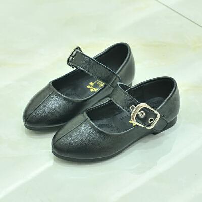 春秋女童皮鞋学生休闲鞋软底儿童宝宝公主鞋时尚扣平底鞋