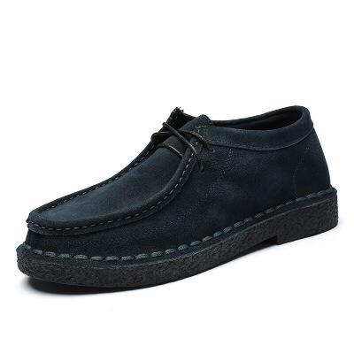 男士懒人鞋反绒皮男鞋英伦复古皮鞋男真皮系带潮鞋子磨砂皮休闲鞋