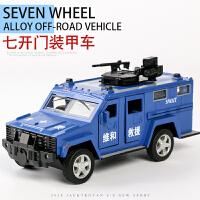 儿童警车玩具车仿真合金车模型男孩小汽车玩具特警装甲车声光回力