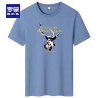 【2折预估到手价:44叠券更优惠】罗蒙男士短袖T恤2021夏季新款圆领百搭上衣中青年透气T恤