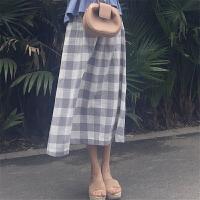 格子半身裙中长款韩版夏装2018新款大码复古港风chic裙子A字裙